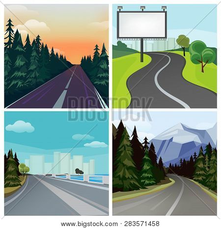 Road To Town. Outside Highway Street Scenic Different Types Of City Road Vector Landscape. Road Trav