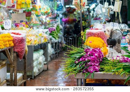 Variety Of Fresh Flowers That Were On Sale At The Flower Market