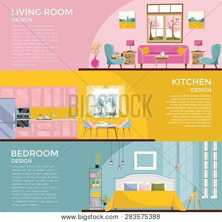 Set Of Colorful Graphic Room Interiors: Living Rooms With Sofa, Window, Armchair, Bedroom With Bed K