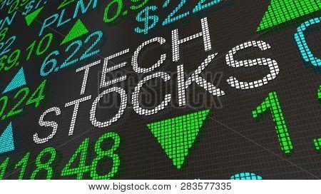 Tech Stocks Hot Growth Stock Market Ticker Words 3d Illustration