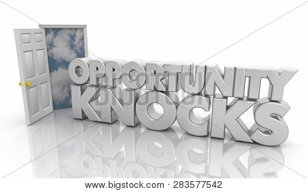 Opportunity Knocks Door Words 3d Illustration