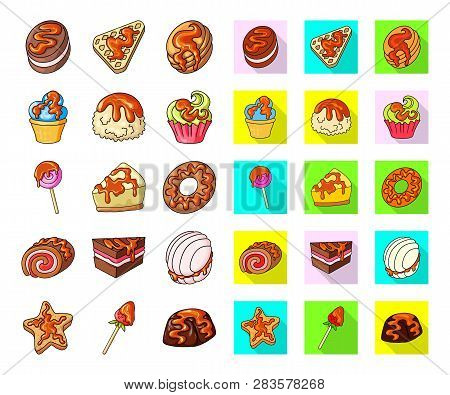 Vector Design Of Dessert And Sweet Logo. Set Of Dessert And Food Vector Icon For Stock.