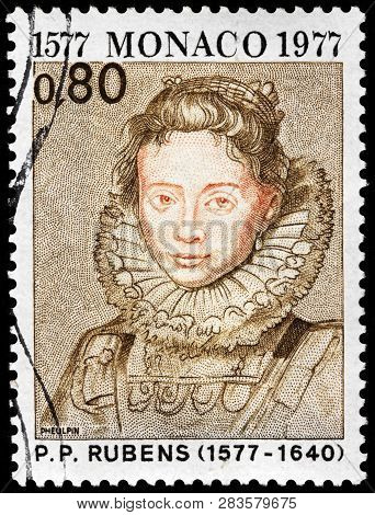 Luga, Russia - January 24, 2019: A Stamp Printed By Monaco Shows Image Portrait Of Maid Of Archduche