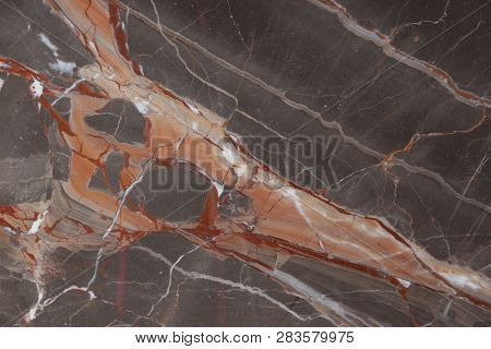 Slab Marble With Pink And Red Veins, Called Caravaggio
