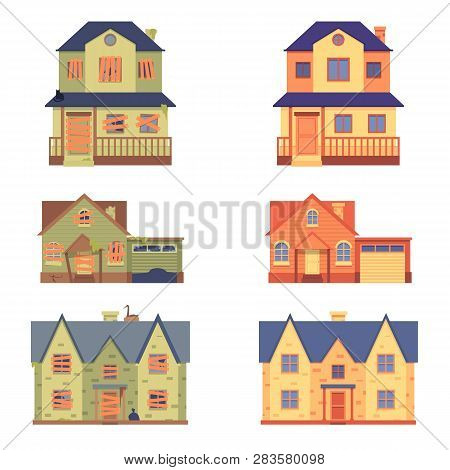 Vector Set Of Home Renovation In Flat Cartoon Style, Before And After.