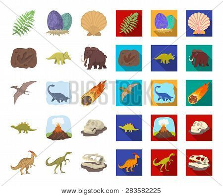 Different Dinosaurs Cartoon, Flat Icons In Set Collection For Design. Prehistoric Animal Vector Symb