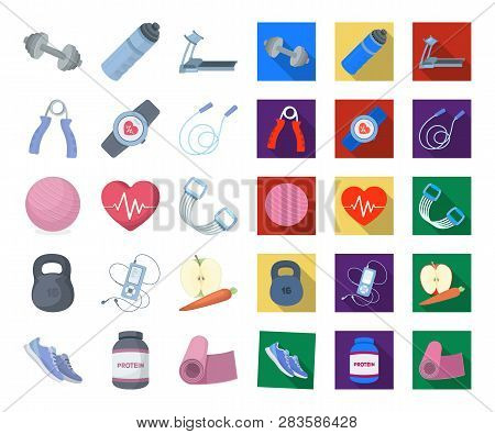 Gym And Training Cartoon, Flat Icons In Set Collection For Design. Gym And Equipment Vector Symbol S