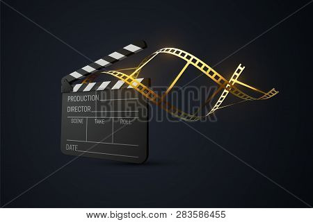Film Clapper Board With Curled Golden Film Strip. Cinema Production Or Media Industry Concept. Vecto