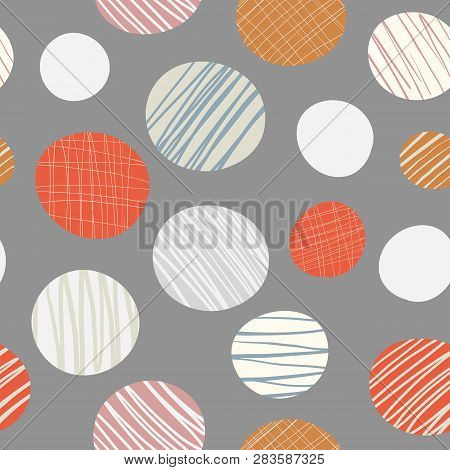 Red, Orange, Cream Hand Drawn Circles Seamless Vector Pattern On Neutral Brown Background. Stylish C