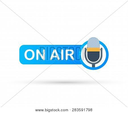 Podcast Icon Like On Air Live. Podcast. Badge, Icon, Stamp, Logo. Radio Broadcasting Or Streaming. V