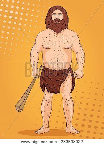 Neanderthal, Pop Art Background. Imitation Of Comics Style. Vector
