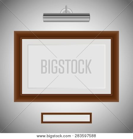 Photo Frame On The Wall. Old Wood Picture Frame Isolate On White. Braun Wood Frame For Picture And L