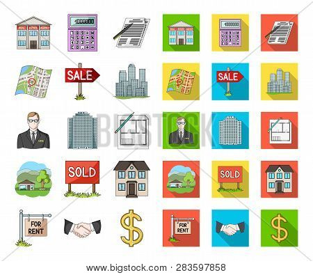 Realtor, Agency Cartoon, Flat Icons In Set Collection For Design. Buying And Selling Real Estate Vec