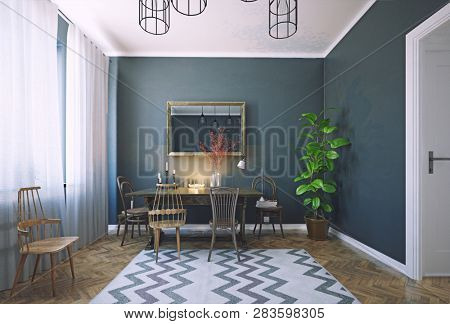 modern dark style dining room interior design. 3d rendering room concept