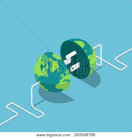 Flat 3d Isometric Earth Globe As A Plug And Socket Connected Together. Global Internet Communication