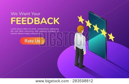 3d Isometric Web Banner Businessman With Phone And Five Star Feedback. Customer Satisfaction And Fee