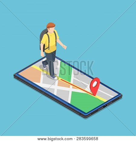 Flat 3d Isometric Traveller Use Map Application On The Smartphone To Reach The Destination. Mobile G