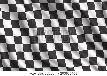 Car Racing Or Auto Rally 3d Realistic Flag. Vector Car Sport Races Motocross Rally Competition Finis