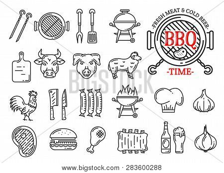Barbecue Restaurant, Steak House Or Sausage Grill Bar And Menu Line Icons. Vector Signs Of Bbq Grill