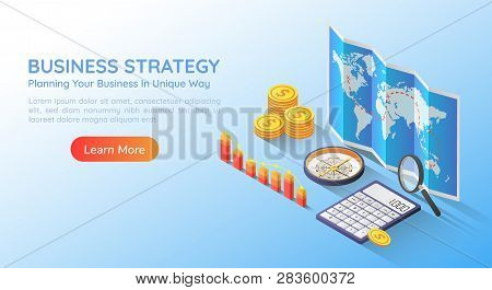 3d Isometric Web Banner Business Planning Strategy On World Map With Accessories And Graph. Business