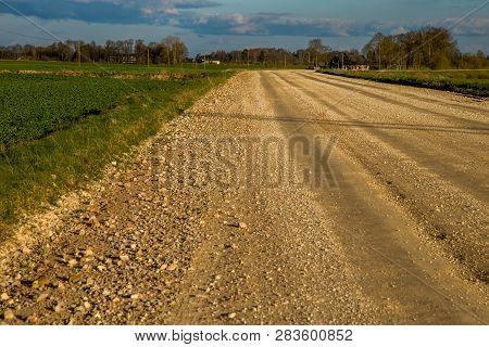 Summer Landscape With Empty Road, Field And Blue Sky.. Rural Road, Cornfield, Wood And Cloudy Blue S