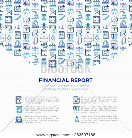 Financial Report Concept With Thin Line Icons: Bank, Financial Analytics, Calculate, Signature, Emai