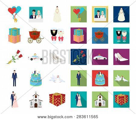 Wedding And Attributes Cartoon, Flat Icons In Set Collection For Design. Newlyweds And Accessories V