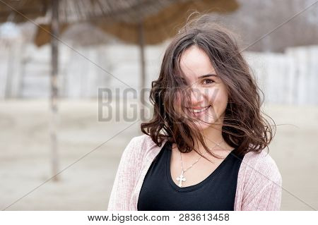 Happy Girl Portrait, Portrait Of Beautiful Sensitive Young Girl Or Woman Posing Outdoors In Casual C
