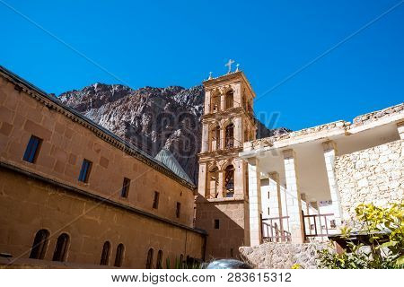 Church And Monastery In Saint Catherine Next To Moses Mountain Egypt, Sinai. Famous Place For Christ