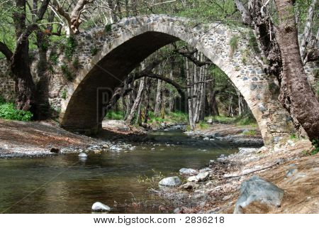 Ancient venetian bridge of Tzelefos in Cyprus poster