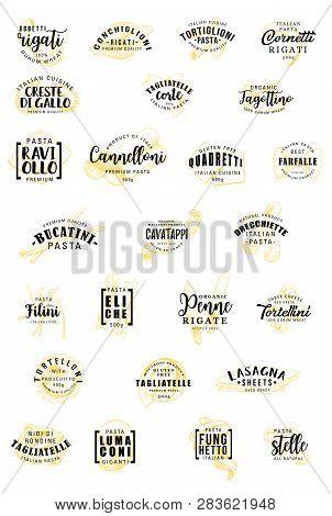 Italian Pasta Sketch Lettering. Vector Durum Gluten Free Italy Pasta Calligraphy Icons Of Gobetti Ri