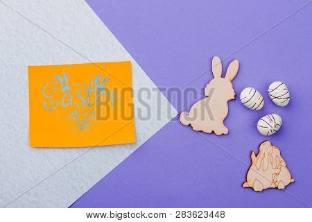 Handmade Easter Decor Items, Top View. Easter Plywood Cutouts And Decorative Eggs. Cheap Easter Souv