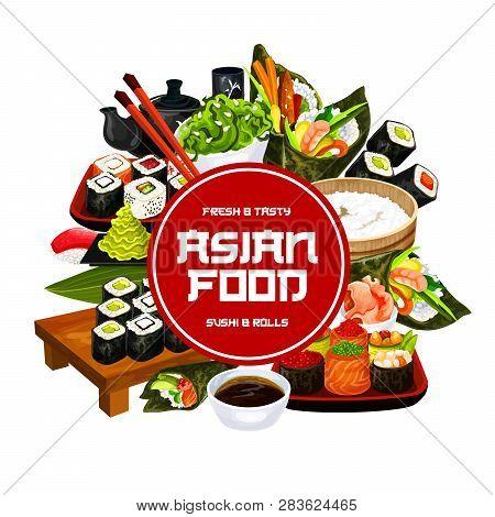 Japanese Cuisine Sushi Rolls And Rice Menu. Vector Poster Of Sashimi And Maki, Philadelphia Or Calif