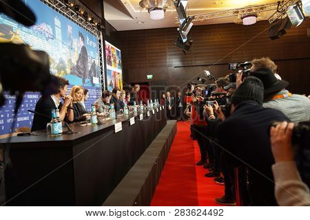 Atmospher attends the 'By the Grace of God' (Grace a Dieu) press conference at the 69th Berlinale International Film Festival Berlin on February 8, 2019, in Berlin, Germany.