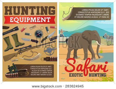 Safari Hunting Ammo Equipment And Hunter Traps. Vector Exotic Hunt Elephant And Zebra Animals In Sav