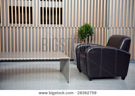 Luxury waiting room with plant against wooden wall
