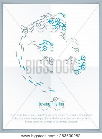Futuristic Vector Technology Background. Abstract Wavy Lines Pattern, Art Graphic Illustration Can B