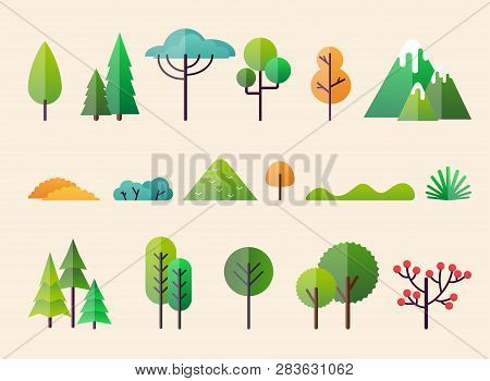 Abstract Forest Plants And Trees. Forest Landscapes.