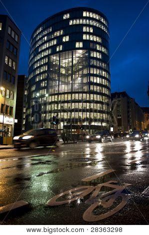Business skyscraper in Brussels at night