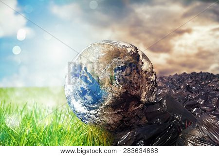 Earth Is Chancing Due To Pollution And Undifferentiated Trash. Save The World. World Provided By Nas