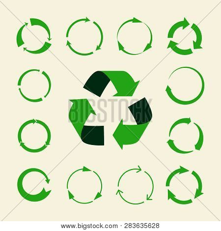 Recycle Arrows Vector Set - Ecology Icons Collection. Illustration Of Recycle Arrow, Reuse And Recyc