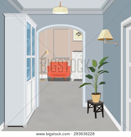 Long Corridor With Of Closed Door. Concept Of Infinite Opportunities For Success And Toughness Of Ch