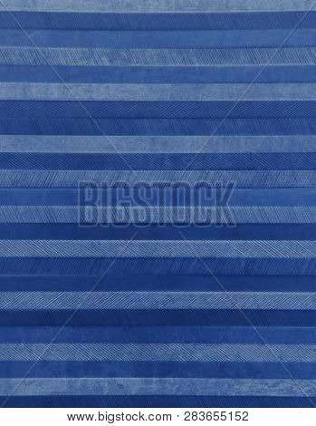 Abstract Metal Background With Gray And Blue Horizontal Lines