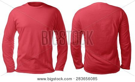 Blank Long Sleeved Shirt Mock Up Template, Front And Back View, Isolated On White, Plain Red T-shirt