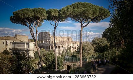 View Of The Roman Colosseum Though The Trees From The Forum In Rome, Italy, People Blurred For Comme
