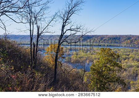Mississippi River Valley From Bluffs Of Wyalusing State Park In Driftless Area Of Wisconsin Along Io