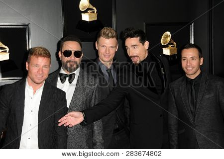 LOS ANGELES - FEB 10:  Backstreet Boys  at the 61st Grammy Awards at the Staples Center on February 10, 2019 in Los Angeles, CA
