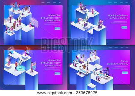 Augmented And Virtual Reality In Everyday Life. Vector Set Banner Isometric Future Medical Technolog