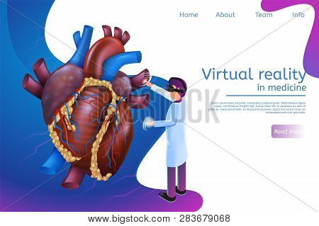 Isometric Banner Virtual Reality In Medicine In 3d. Vector Illustration Doctor Using Virtual Reality