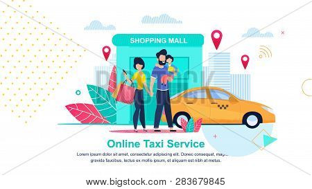 Shopping Mall. Online Taxi Service. Streets City. Man And Child Waiting For Taxi At Shopping And Ent
